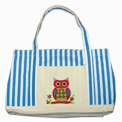 Owl Colorful Patchwork Art Striped Blue Tote Bag