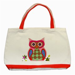 Owl Colorful Patchwork Art Classic Tote Bag (Red)
