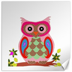 Owl Colorful Patchwork Art Canvas 20  x 20