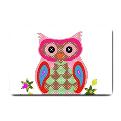 Owl Colorful Patchwork Art Small Doormat