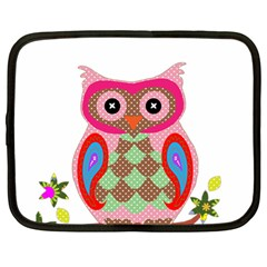 Owl Colorful Patchwork Art Netbook Case (Large)
