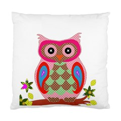 Owl Colorful Patchwork Art Standard Cushion Case (Two Sides)