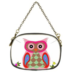 Owl Colorful Patchwork Art Chain Purses (Two Sides)