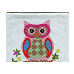 Owl Colorful Patchwork Art Cosmetic Bag (XL)