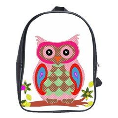 Owl Colorful Patchwork Art School Bags(Large)