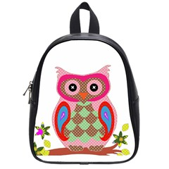 Owl Colorful Patchwork Art School Bags (Small)