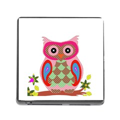 Owl Colorful Patchwork Art Memory Card Reader (Square)