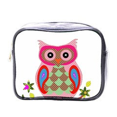 Owl Colorful Patchwork Art Mini Toiletries Bags
