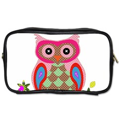 Owl Colorful Patchwork Art Toiletries Bags 2-Side