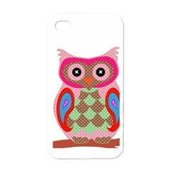 Owl Colorful Patchwork Art Apple iPhone 4 Case (White)