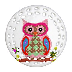 Owl Colorful Patchwork Art Round Filigree Ornament (Two Sides)