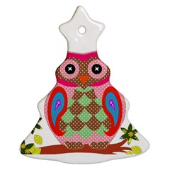 Owl Colorful Patchwork Art Christmas Tree Ornament (Two Sides)
