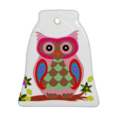 Owl Colorful Patchwork Art Bell Ornament (Two Sides)
