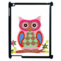 Owl Colorful Patchwork Art Apple iPad 2 Case (Black)