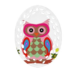 Owl Colorful Patchwork Art Oval Filigree Ornament (Two Sides)