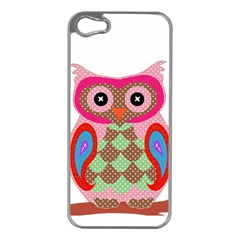 Owl Colorful Patchwork Art Apple iPhone 5 Case (Silver)