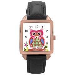Owl Colorful Patchwork Art Rose Gold Leather Watch