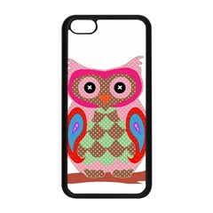 Owl Colorful Patchwork Art Apple iPhone 5C Seamless Case (Black)