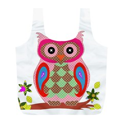 Owl Colorful Patchwork Art Full Print Recycle Bags (L)