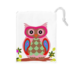 Owl Colorful Patchwork Art Drawstring Pouches (Large)