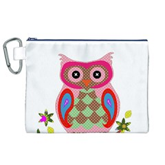 Owl Colorful Patchwork Art Canvas Cosmetic Bag (XL)