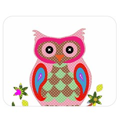 Owl Colorful Patchwork Art Double Sided Flano Blanket (Medium)