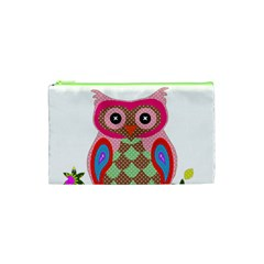 Owl Colorful Patchwork Art Cosmetic Bag (XS)