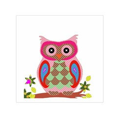 Owl Colorful Patchwork Art Small Satin Scarf (Square)