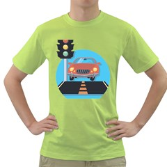 Semaphore Car Road City Traffic Green T-Shirt
