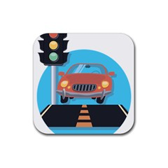 Semaphore Car Road City Traffic Rubber Square Coaster (4 pack)