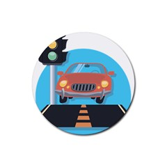 Semaphore Car Road City Traffic Rubber Round Coaster (4 pack)