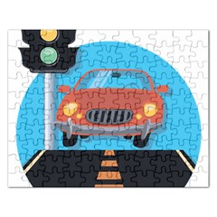 Semaphore Car Road City Traffic Rectangular Jigsaw Puzzl