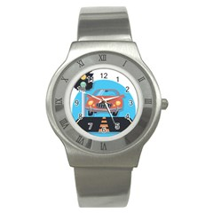 Semaphore Car Road City Traffic Stainless Steel Watch