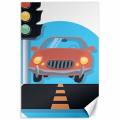 Semaphore Car Road City Traffic Canvas 24  x 36