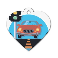 Semaphore Car Road City Traffic Dog Tag Heart (One Side)