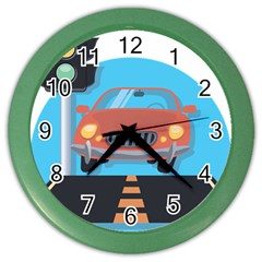 Semaphore Car Road City Traffic Color Wall Clocks