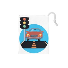 Semaphore Car Road City Traffic Drawstring Pouches (Small)
