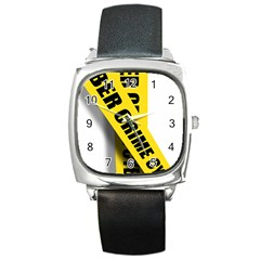 Internet Crime Cyber Criminal Square Metal Watch