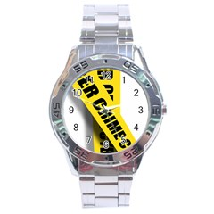 Internet Crime Cyber Criminal Stainless Steel Analogue Watch