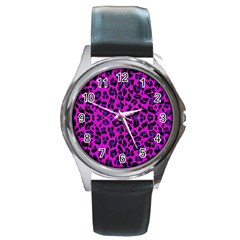 Pattern Design Textile Round Metal Watch
