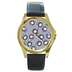Rocket Ship Wallpaper Background Round Gold Metal Watch