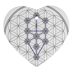 Tree Of Life Flower Of Life Stage Ornament (Heart)
