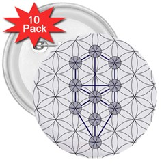 Tree Of Life Flower Of Life Stage 3  Buttons (10 pack)