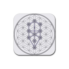 Tree Of Life Flower Of Life Stage Rubber Coaster (Square)