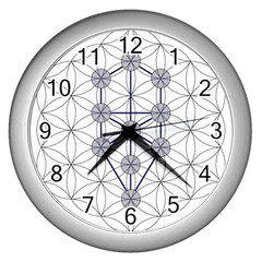 Tree Of Life Flower Of Life Stage Wall Clocks (Silver)