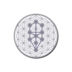 Tree Of Life Flower Of Life Stage Rubber Coaster (Round)
