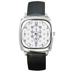 Tree Of Life Flower Of Life Stage Square Metal Watch