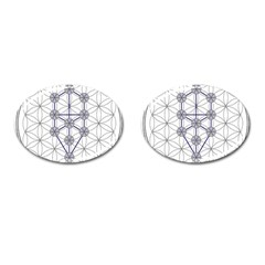 Tree Of Life Flower Of Life Stage Cufflinks (Oval)