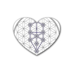 Tree Of Life Flower Of Life Stage Rubber Coaster (Heart)