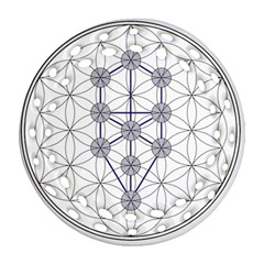 Tree Of Life Flower Of Life Stage Round Filigree Ornament (Two Sides)